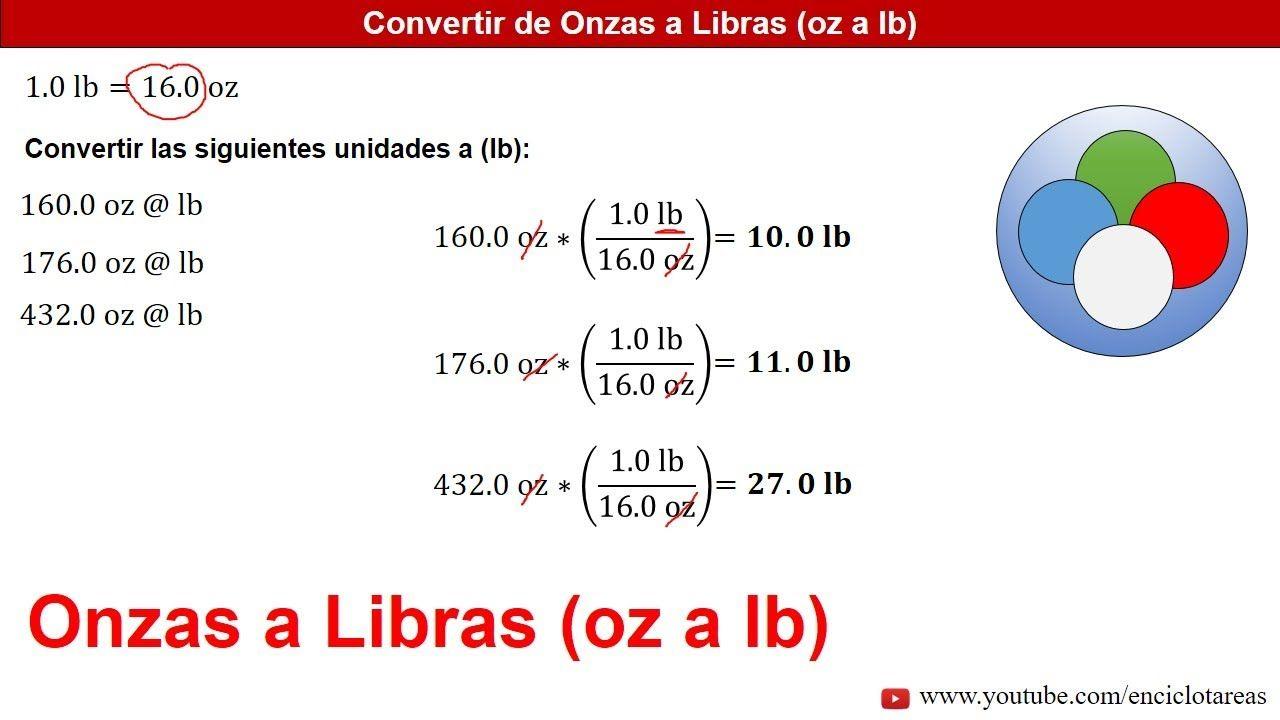 Onzas A Libras Oz A Lb Conversiones Youtube Onzas A Libras Conversion De Unidades Trucos Matematicos