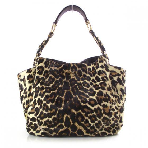e17527279068 PRADA Leopard Print Pony Hair Cavallino Shoulder Bag Avorio