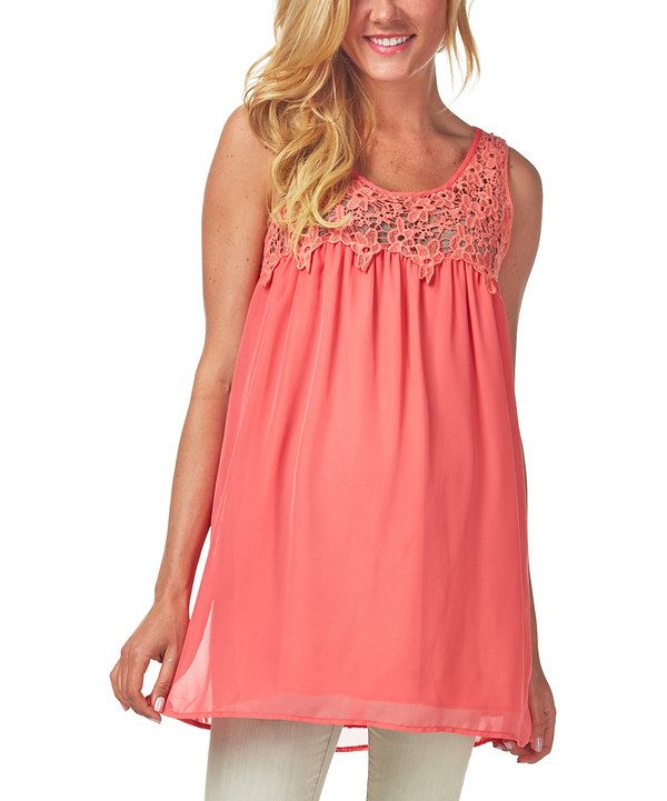 Look at this #zulilyfind! PinkBlush Maternity Coral Crochet Maternity Swing Tunic - Women by PinkBlush Maternity #zulilyfinds