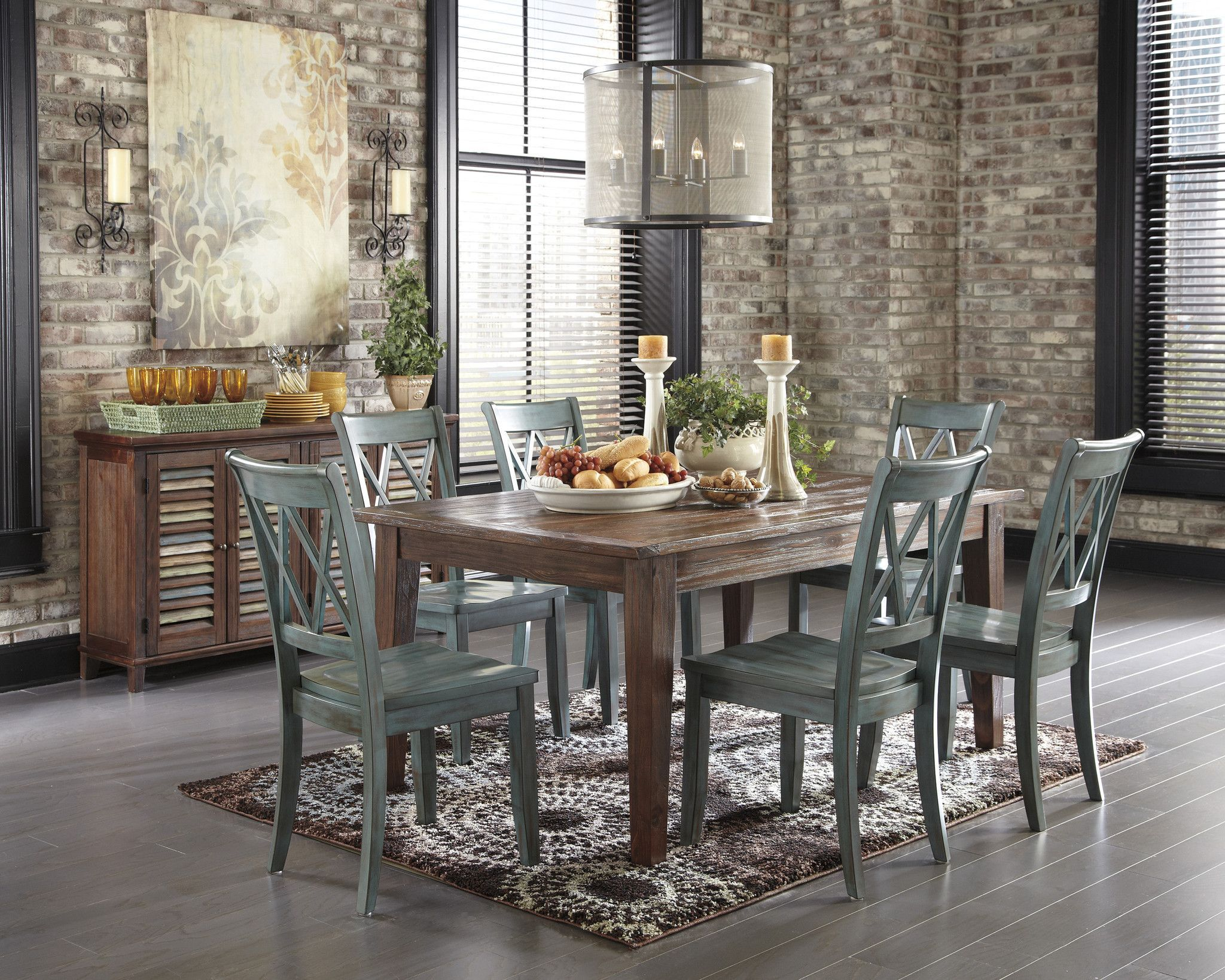 Ashley Furniture Mestler 7 Piece Brown Table