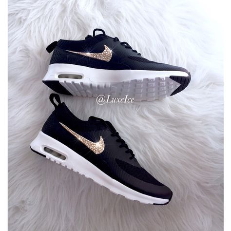 Nike Air Max Thea Black Anthracite White Wolf Grey With Gold Swarovski 145 Liked On Polyvore F Nike Schuhe Damen Nike Schuhe Frauen Nike Schuhe Outfits