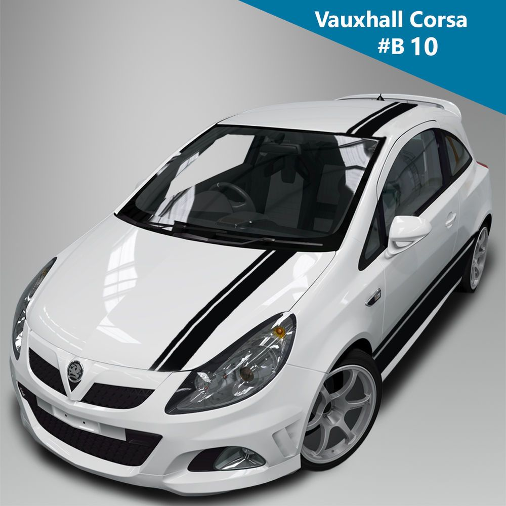 Vauxall corsa racing stripes kit side bonnet roof boot side decal graphics car wyc