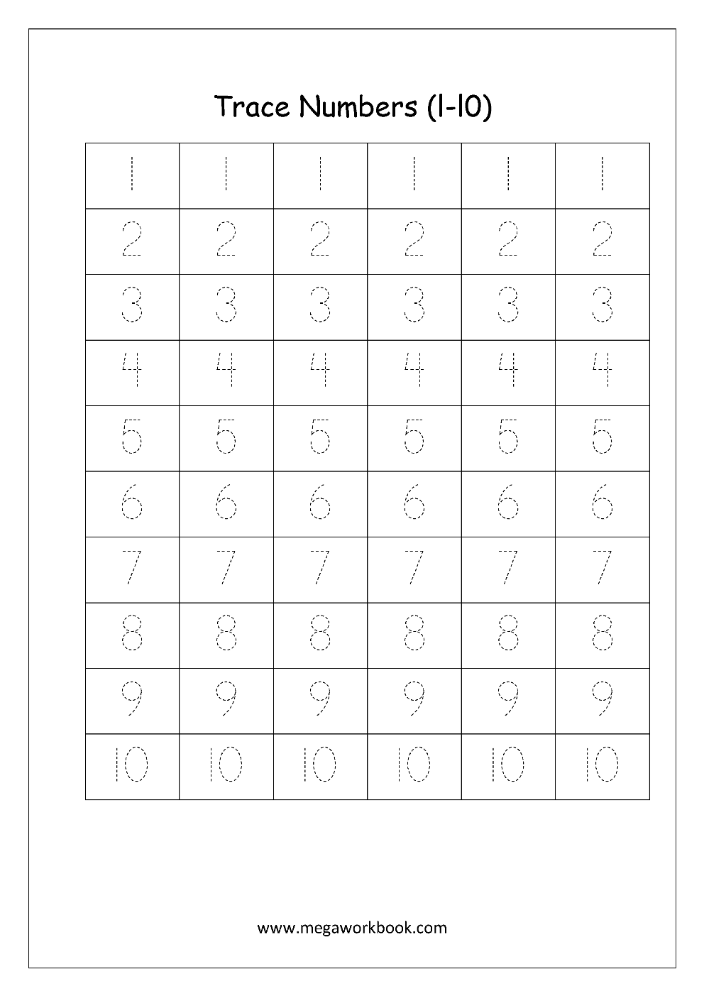 Free Math Worksheets - Number Tracing and Writing (1-10 ...
