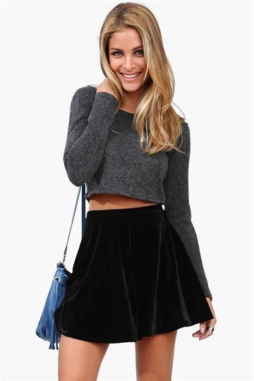 f329cd84f Adorable casual party outfit idea. Black velvet skater skirt