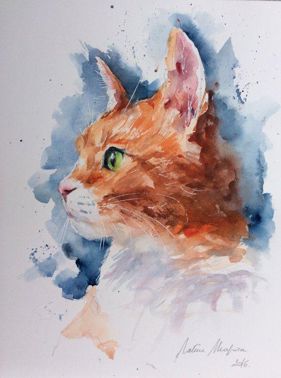 Aquarelle Originale Livraison Gratuite Portrait De Chat Roux