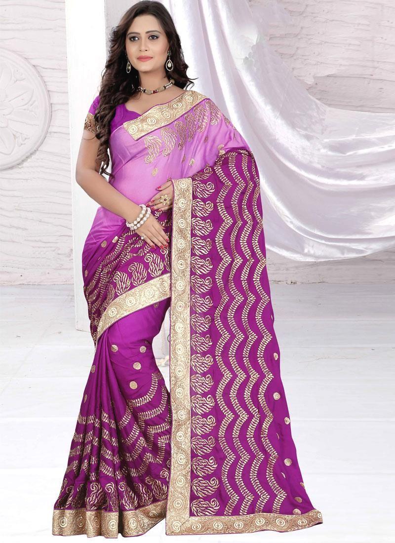 Congenial Lace Work Purple Chiffon Satin Designer Saree
