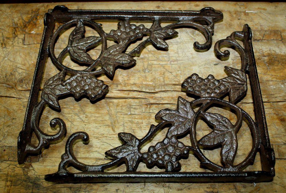 2 Cast Iron Antique Style HUMMINGBIRD Brackets Garden Braces Shelf Bracket