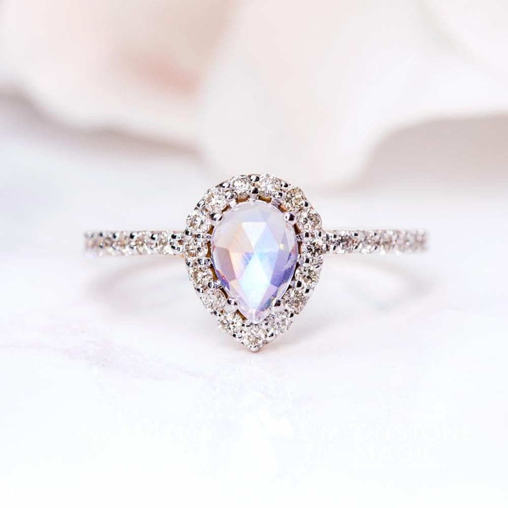 Solid kt rose gold moonstone ring with diamonds tear of joy my