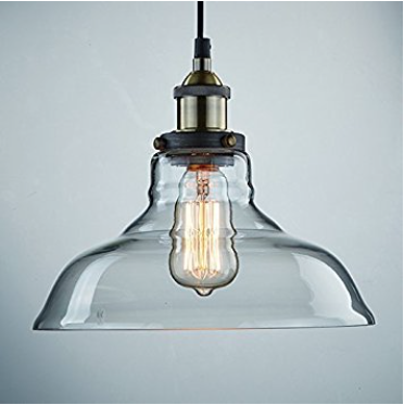 CLAXY CLAXY Ecopower Industrial Edison Vintage Style 1-Light Pendant Glass Hanging Light 4.5 out of 5 stars    339 customer reviews | 148 answered questions #1 Best Seller in Pendant Light Fixtures Price:$32.00 & FREE Shipping on orders over $35. Avail thru Amazon