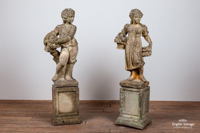 Vintage Harvester Girl And Boy Garden Statues In 2020 Boys Garden Garden Statues Statue