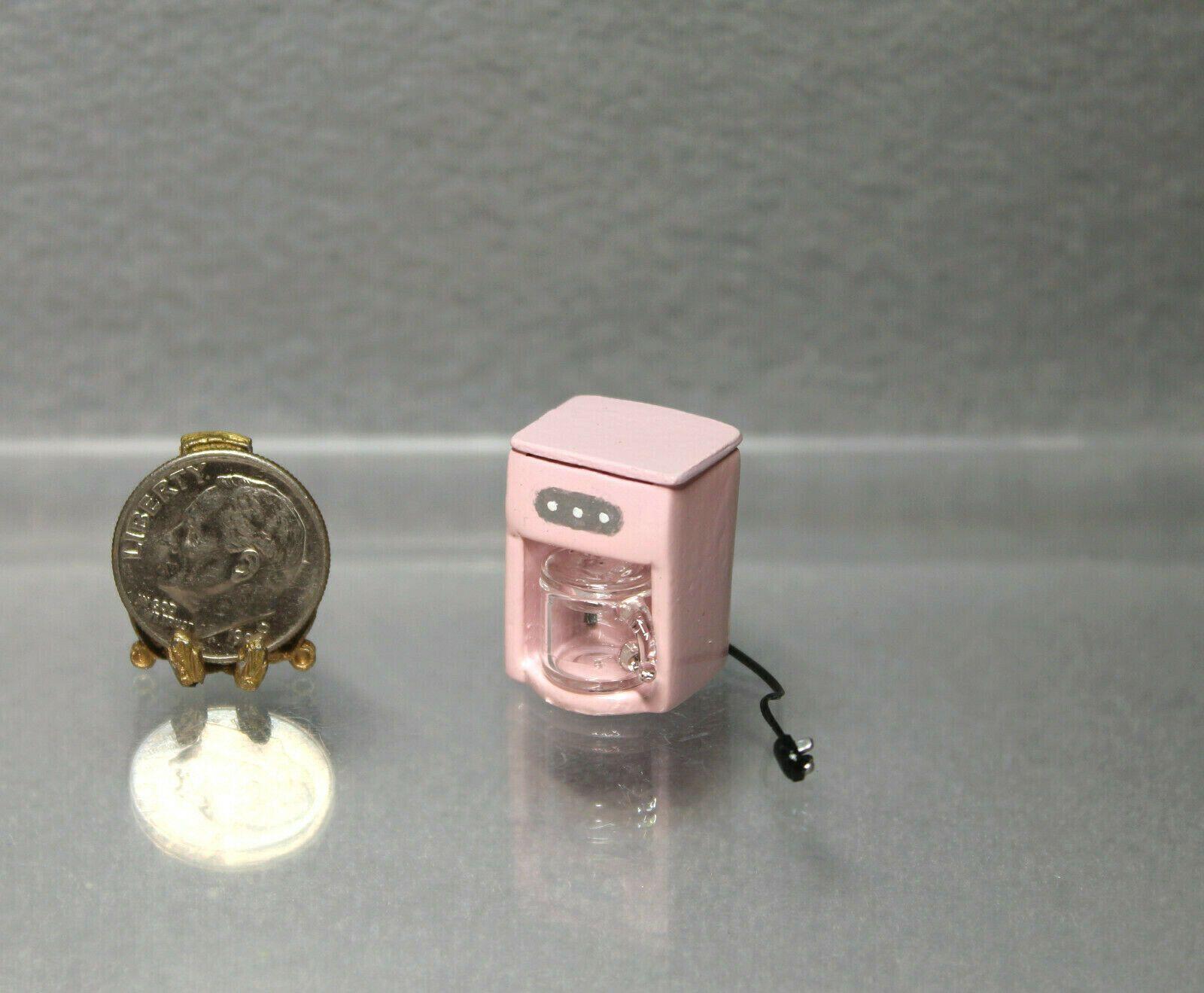 Dollhouse Miniature Metal /& Glass Pink Coffee Maker