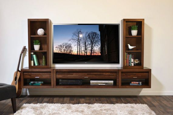 Floating Entertainment Center Hanging Wall Mounted Tv Stand Eco
