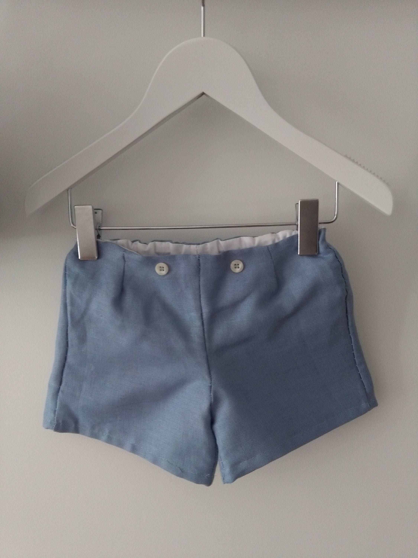 Pantalón unisex de lino azul con botón decorativo, forro interior blanco, ropa de bebé hecha a mano de Amanitajc en Etsy