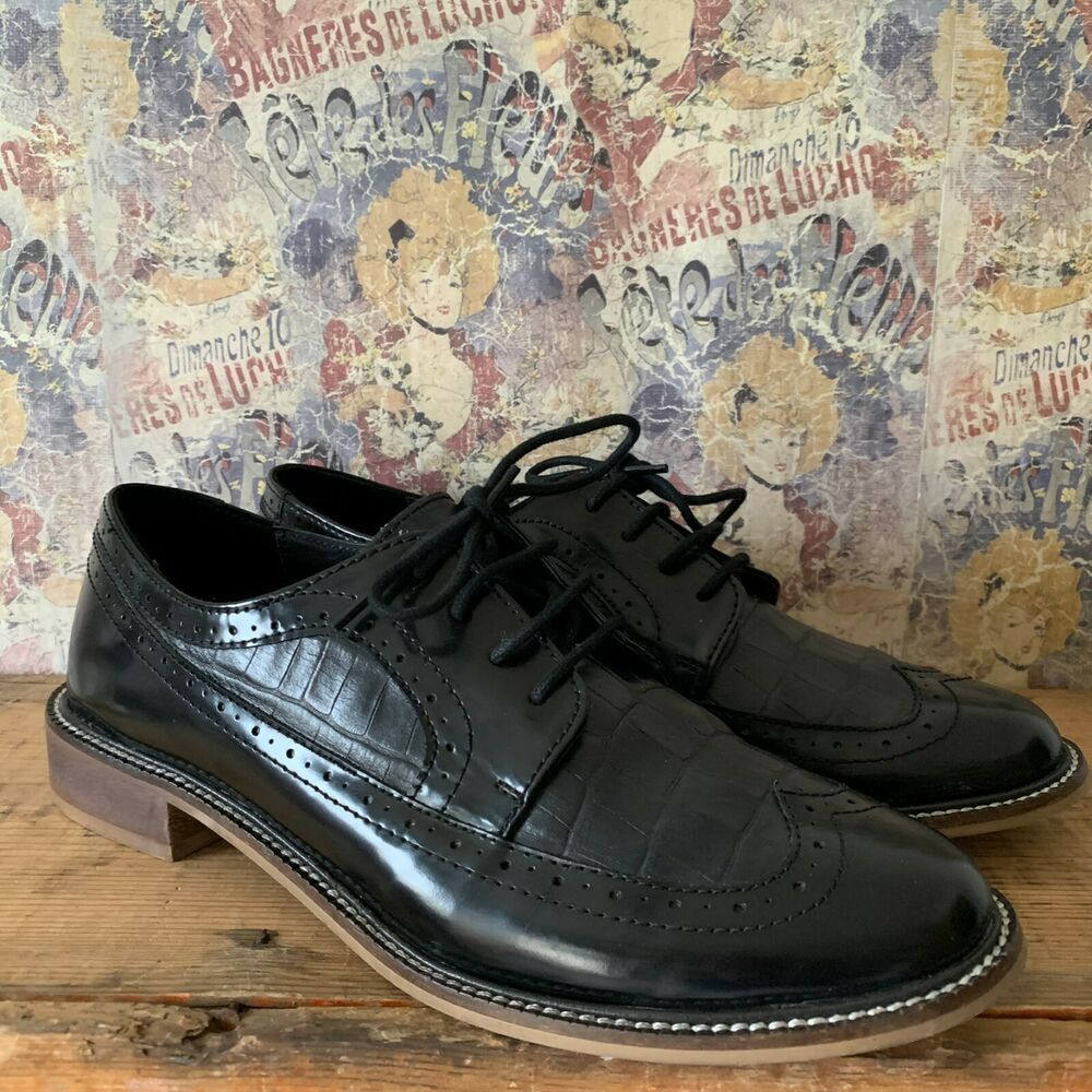 40 WOMENS BLACK LEATHER BROGUE LACE UP