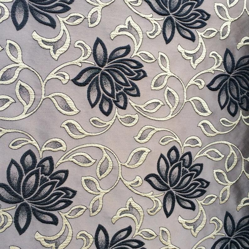 Grey Black Bloomers Fabric By The Yard Curtain Fabric Upholstery