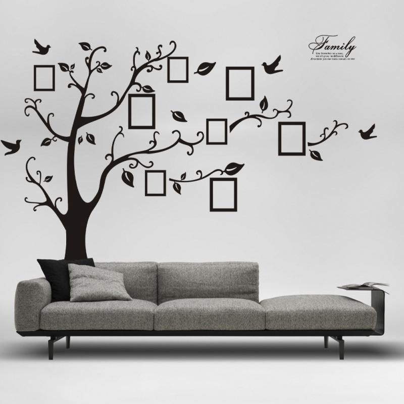 Black Wall Decals large size black family photo frames tree wall stickers, diy home