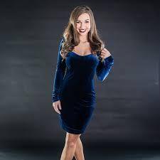 Image result for model in blue velvet dress