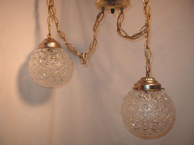 vtg cut crystal double swag lamp light fixture bathroom vanity hollywood regency