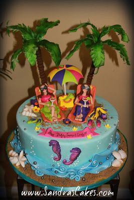 Beach Themed 40th Birthday With Images Beach Themed Cakes