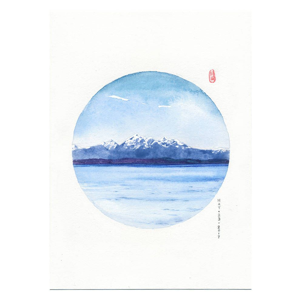 Prints Beach Canada Seascape Watercolor Painting Asian Art