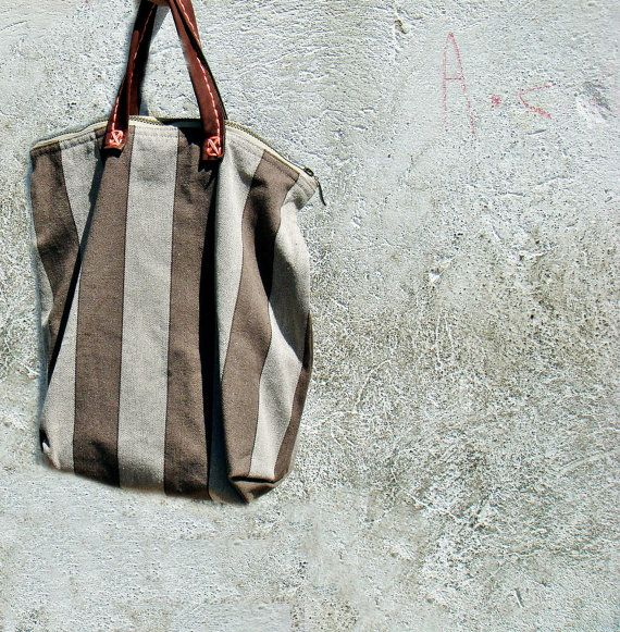 #so65 #borsa Stripe Tote Simple Canvas Bag with Leather Handles by faima, $48.00