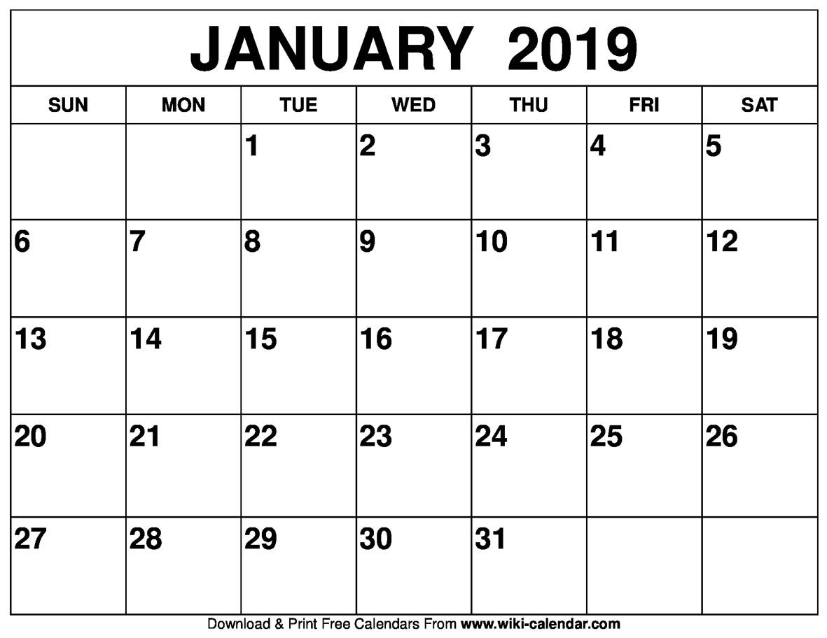 Blank January 2019 Calendar Printable Free Calendar Printables