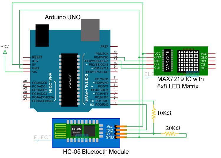 arduino 8x8 led matrix interface electronics arduino arduino rh pinterest com
