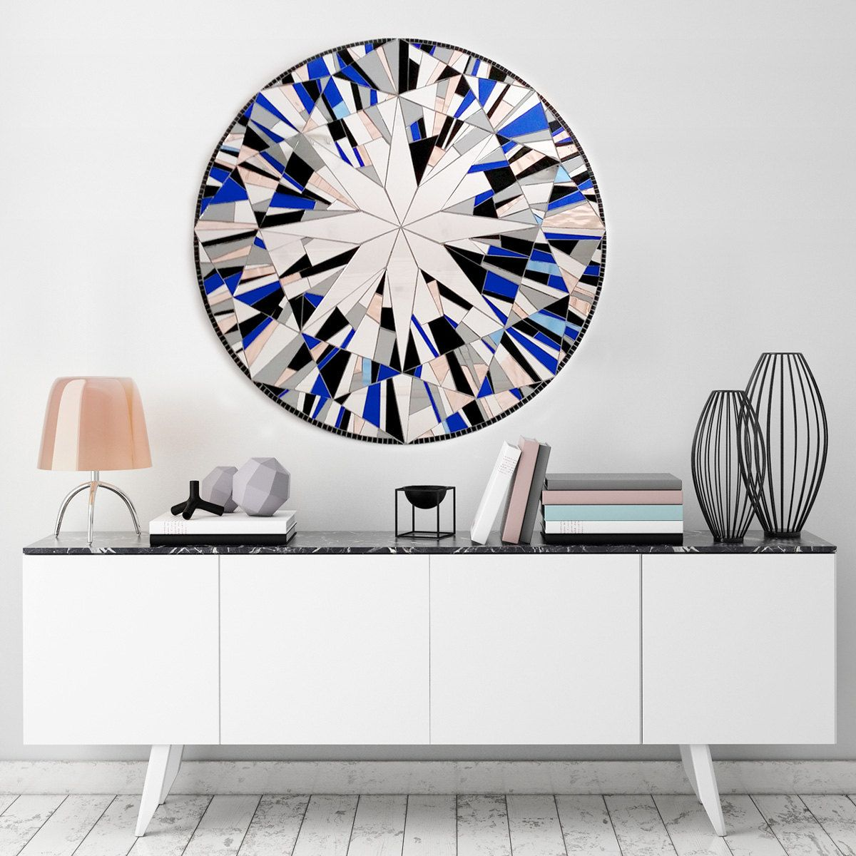 Blue wall mirror round wall art blue mosaic large wall mandalas