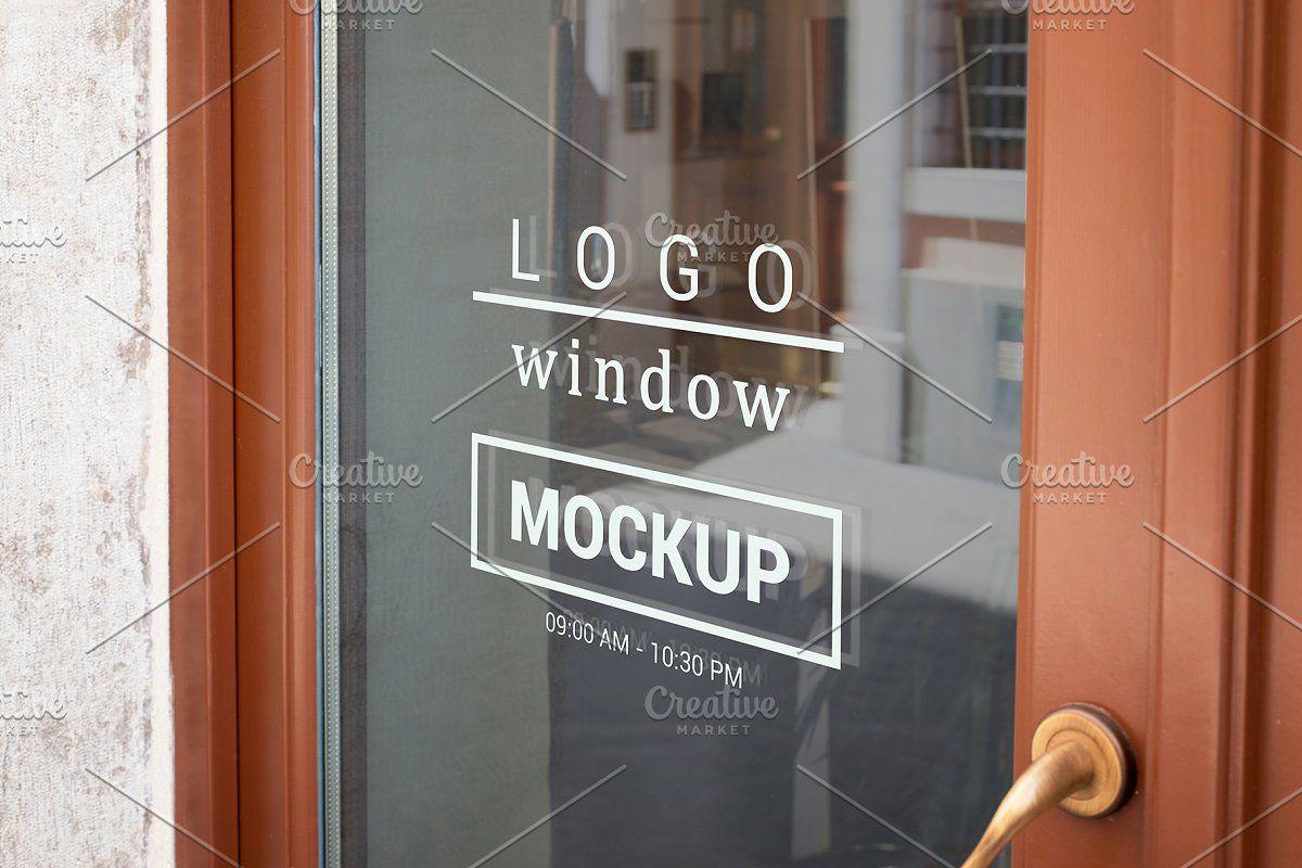 Logo Mockup On Door Window Window Signage Logo Mockup Store Window