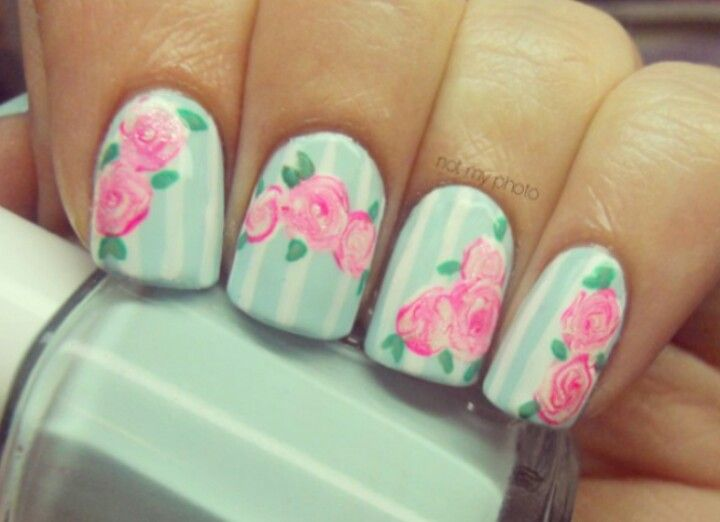 Light blue stripes with pink flower nails | Nails! | Pinterest