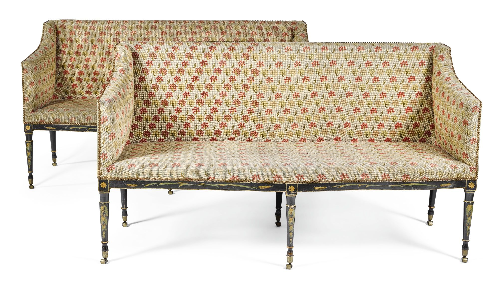 A pair of Scottish George III painted and needlework upholstered