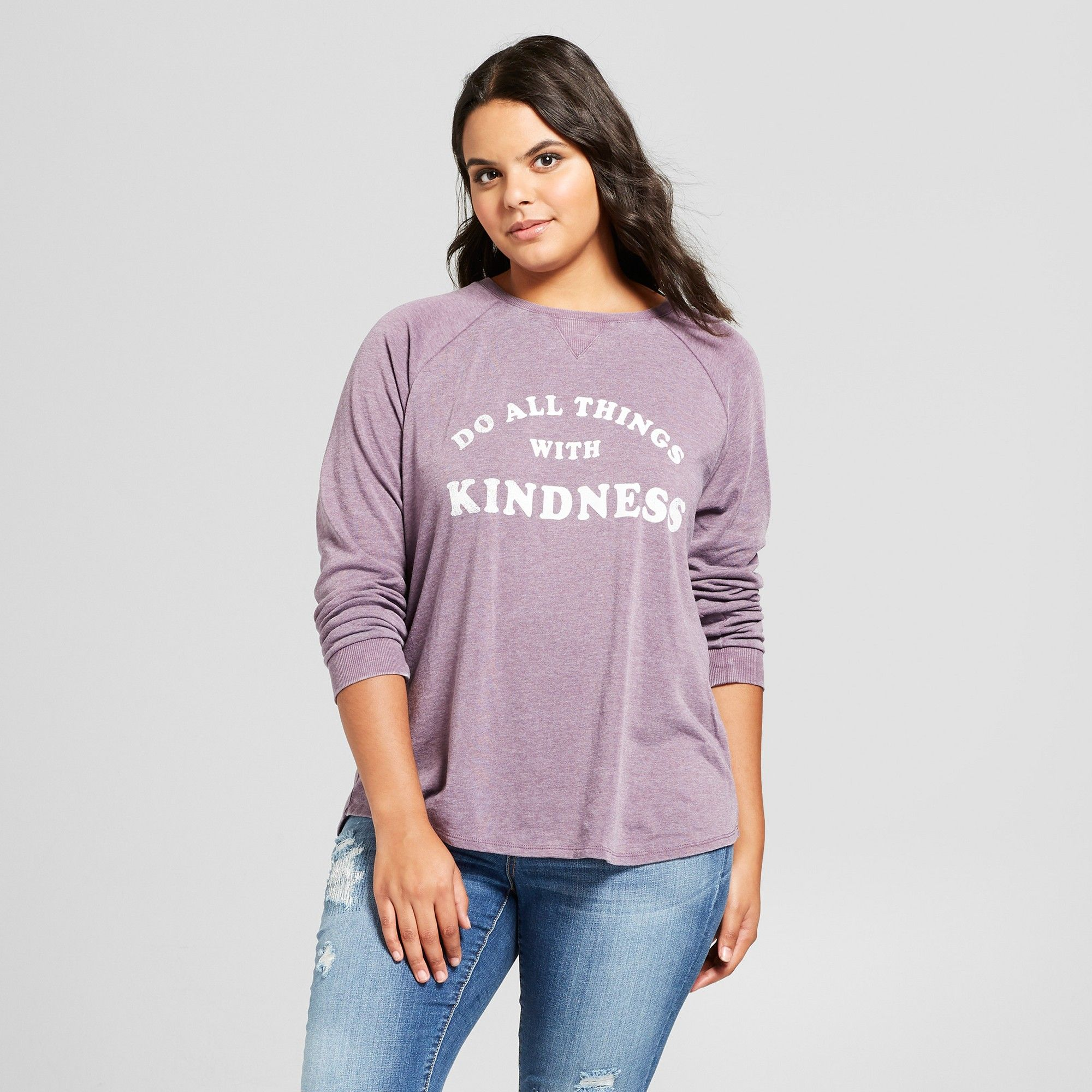 4bea0c32664 Women s Plus Size Do All Things With Kindness Graphic Sweatshirt - Grayson  Threads (Juniors ) - Charcoal 1X