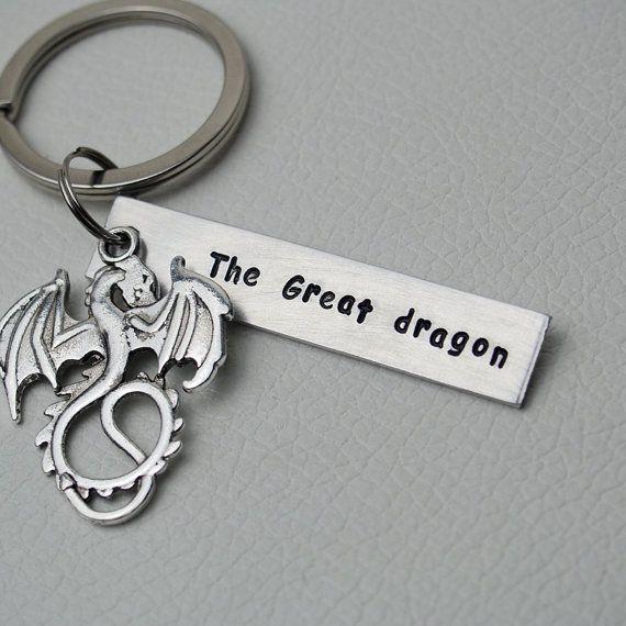 Custom Keychain, best friend keychain,The great dragon personalized keychain,Hand Stamped keychain,Geek key chain