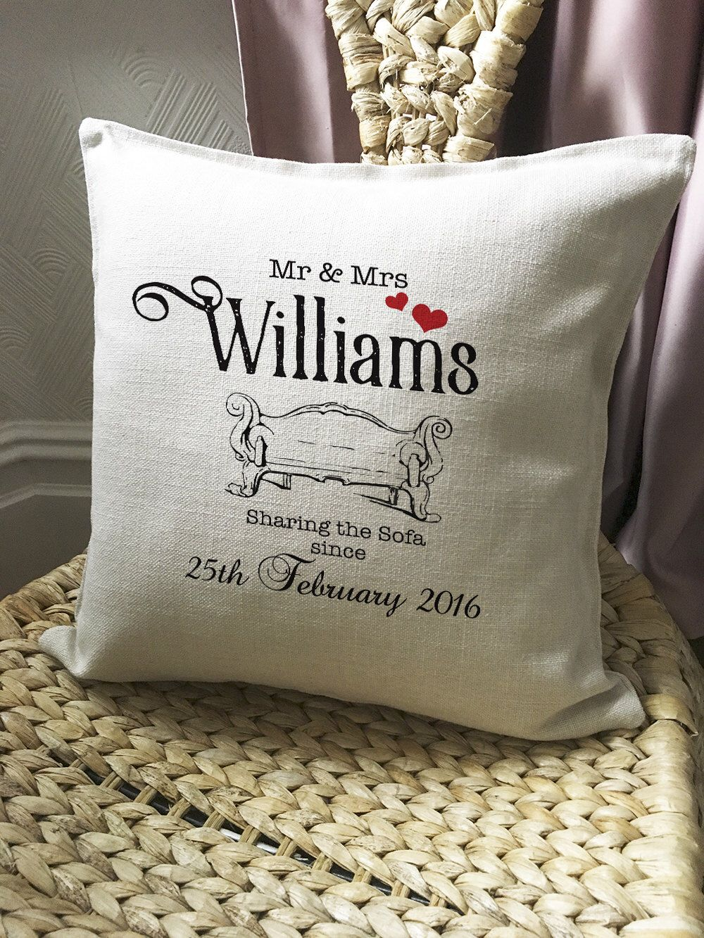 Personalised Wedding Anniversary Cushion Pillow Cover Sharing The Sofa Since Mr And Mrs Bride And Groom 16 Inch 40cm Wedding Cushion Personalized Wedding Types Of Wedding Gifts