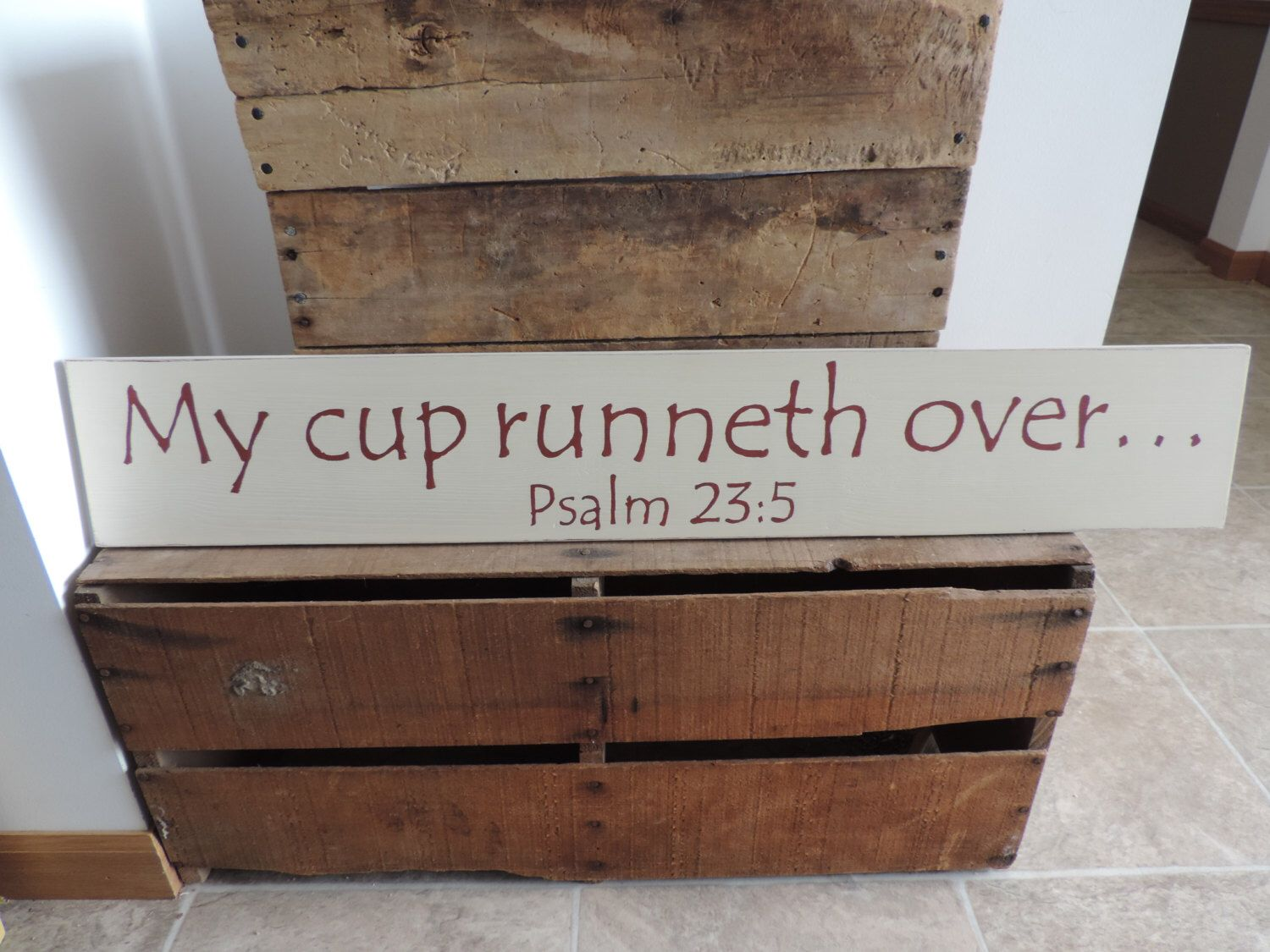 my cup runneth over hand painted wooden sign psalm 23 5