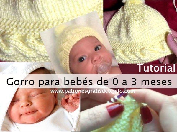 77d6d382a227 Cómo tejer un gorro para bebes recién nacidos hasta tres meses, con ...