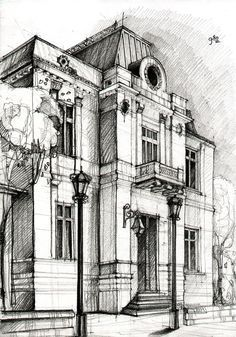 Architectural Drawing Building drawingadelina popescu. i hope i'll be able to sketch a nice