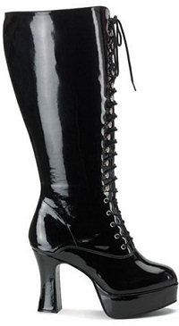 aa211e26bf2 Sexy knee high and ankle patent leather boots fetish gothic biker chick  boots