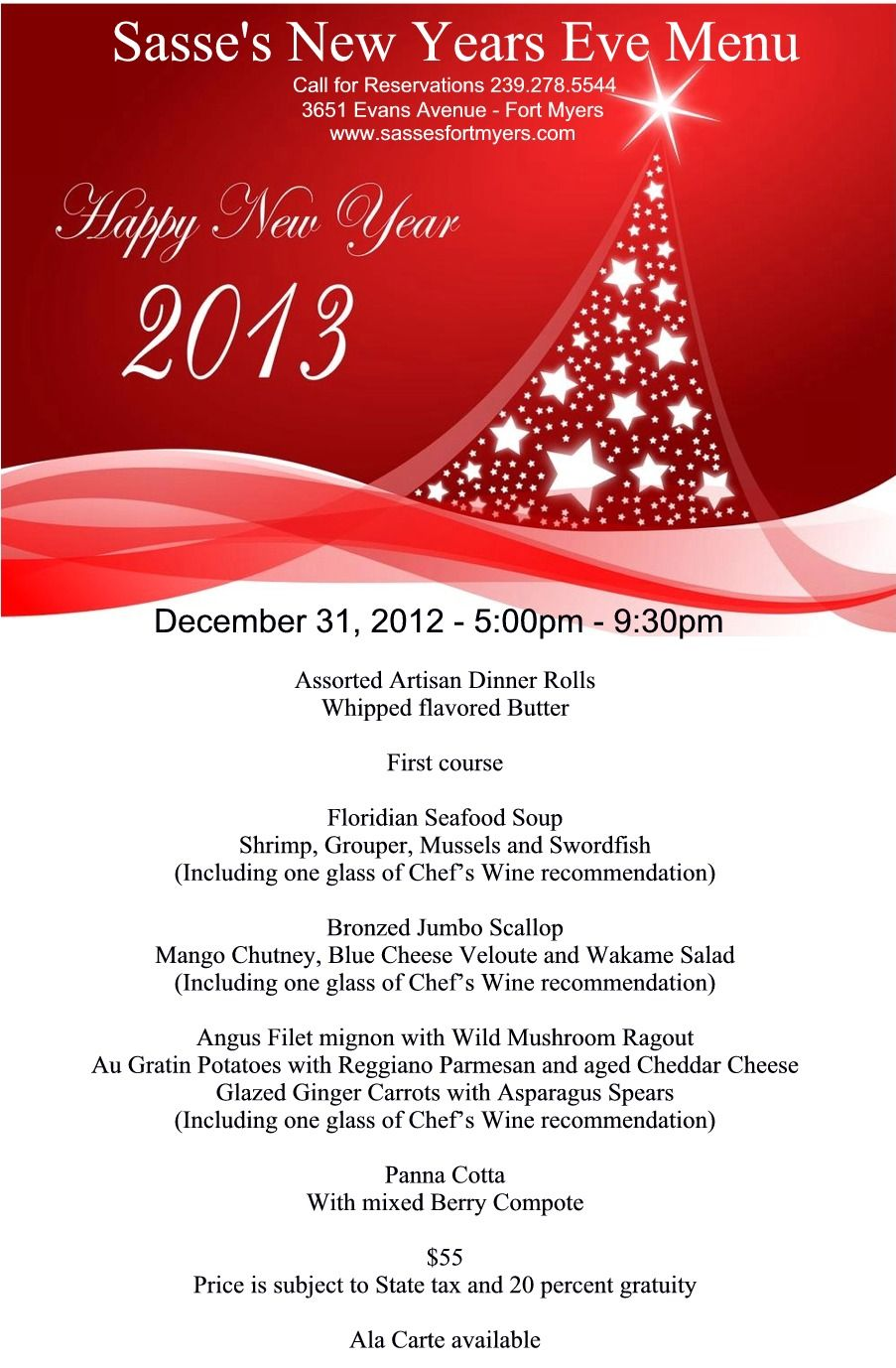 New Years Eve Menu New Years Eve Menu Wine Recommendations European Dishes