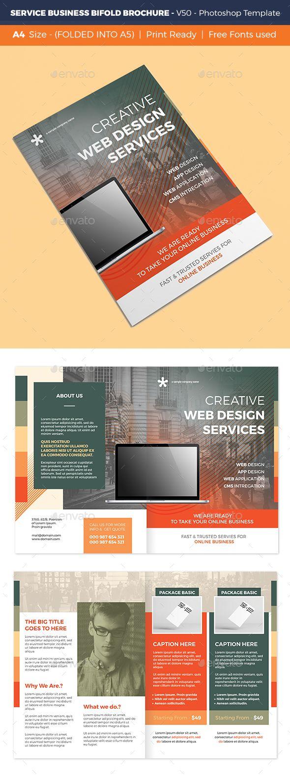 Service Business Bifold Brochure V50 Brochures Business And