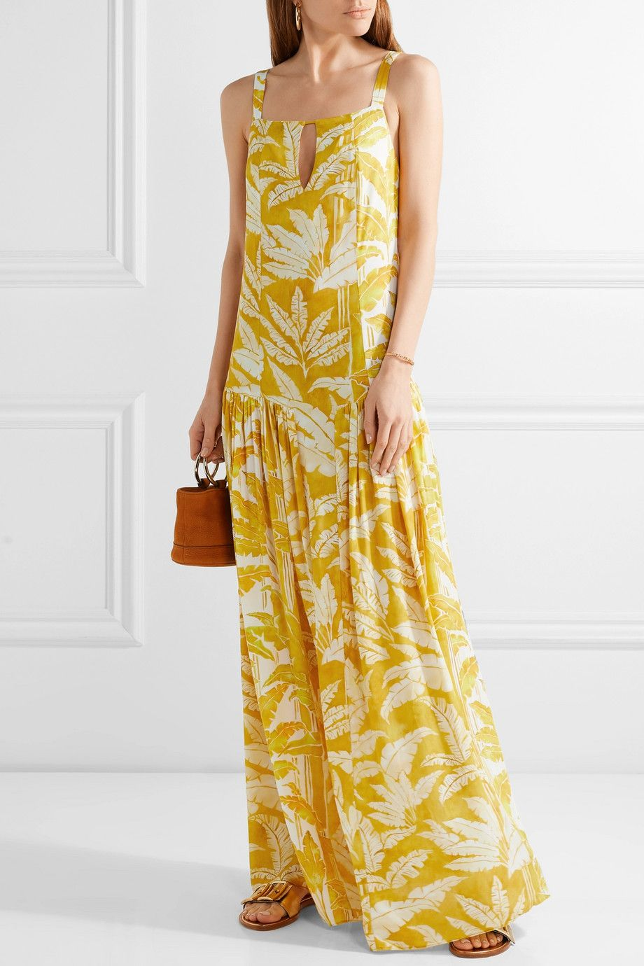Adriana Degreas | Tropical Leaves printed voile maxi dress | NET-A ...