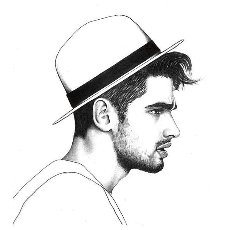Illustration, Drawings, Male Face