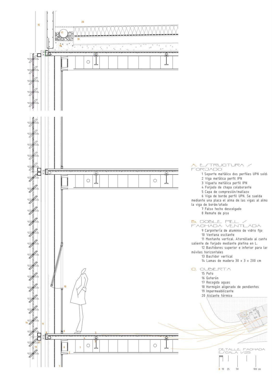 Detalle doble piel cortes constructivos pinterest for Arquitectura verde pdf