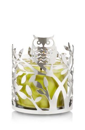 Slatkin & Co. 4 oz. Metal Candle Sleeve Silver Tree with Owl