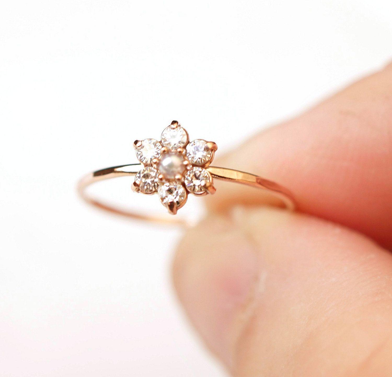 Moissanite ring daisy ring flower ring cluster ring 14k gold moissanite ring daisy ring flower ring cluster ring 14k gold ring izmirmasajfo Image collections