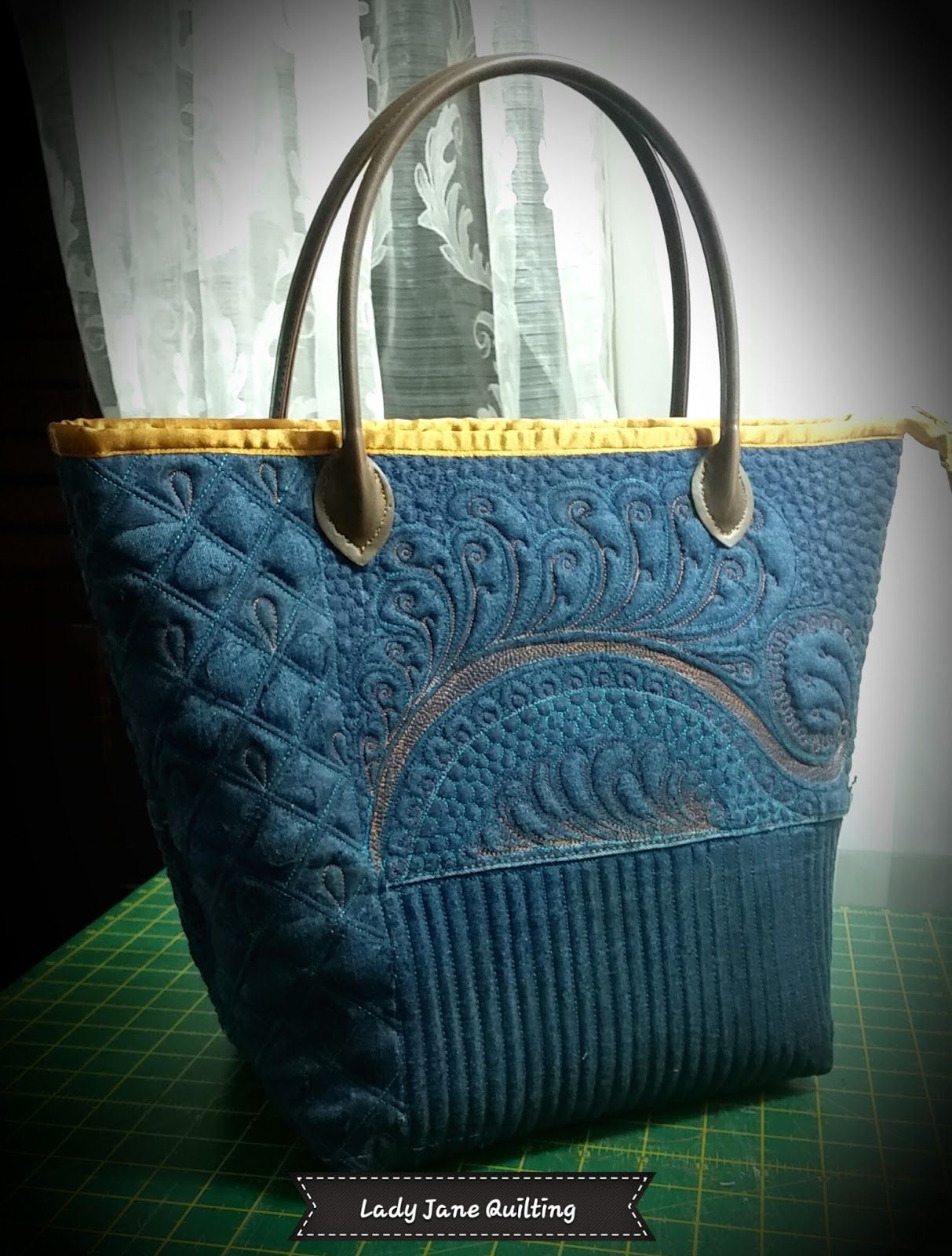 Quilting Patterns For Bags : Denim bag quilted by Telene Jeffrey Lady Jane Quilting Recycled clothing projects ...