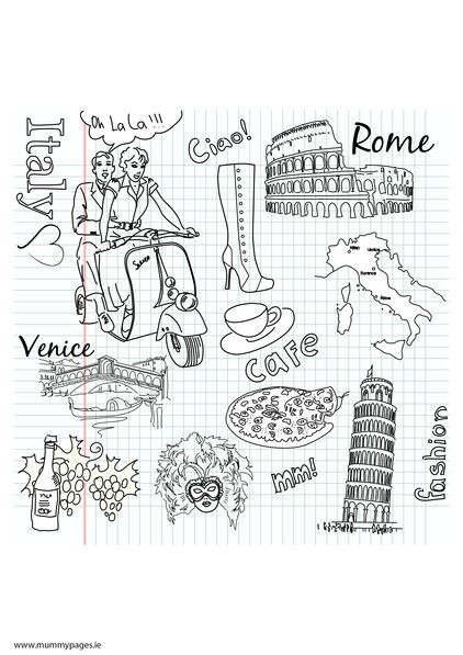 Http Www Mummypages Ie Colouring Pages Travel Doodles Italy
