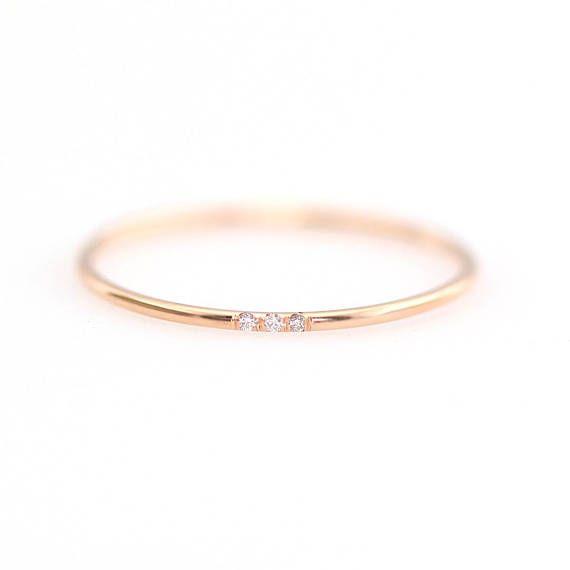 Minimalistische Ehering, Diamant-Ehering, Diamant-Hochzeitsband, Diamant-Verlobungsband, 1,2 mm voller Runde Ehering, Verlobungsring
