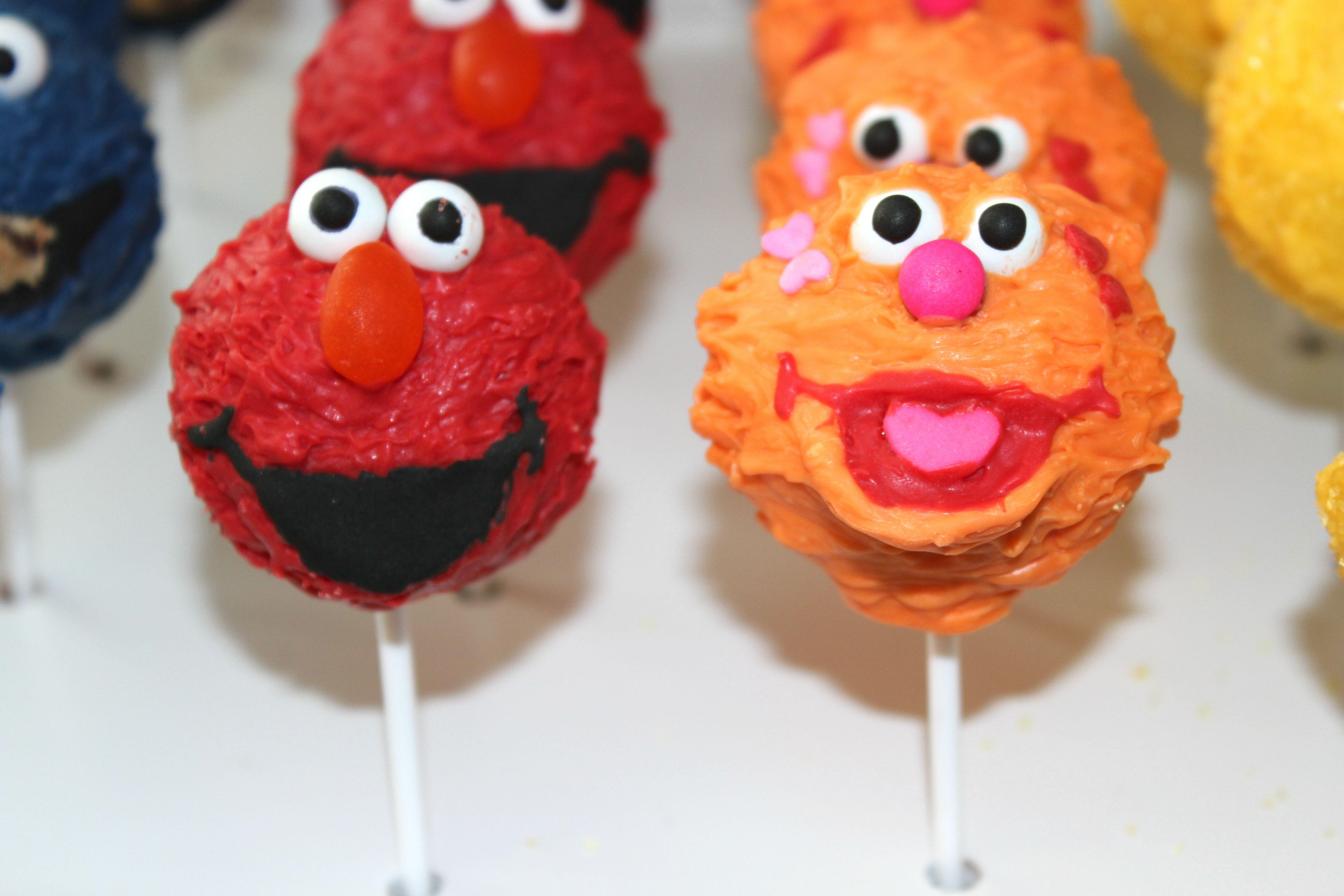 Elmo zoe cake pops sesame street cookies brownie pops