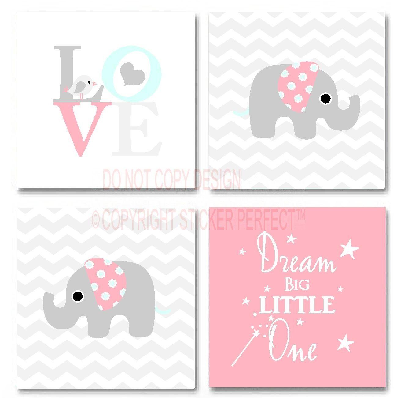 Love Bird Quotes Framed Canvas Print Love 4 Piece Set 2 Cute Elephant Bird